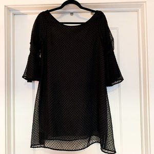 Judith March Black Dotted Mini Dress
